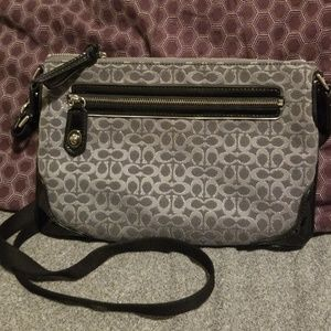 COACH cloth and patent leather crossbody
